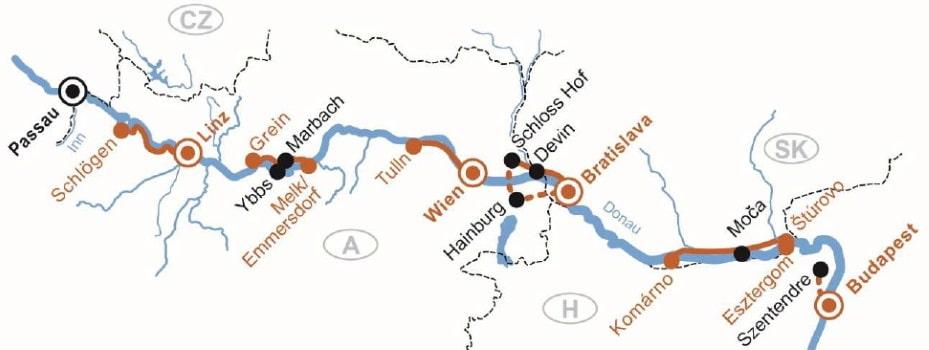 Route van de 8-daagse fietscruise langs de Donau