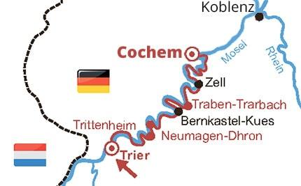 Route van de 5-daagse fietsvakantie langs de Moezel van Trier naar Cochem
