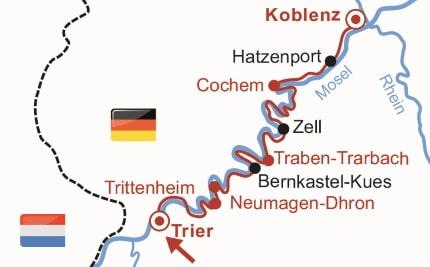 Route van de 6-daagse fietsvakantie langs de Moezel van Trier naar Koblenz